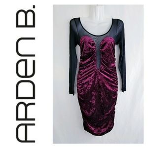NAME YOUR PRICE Arden B Velvet Mesh Bodycon Dress